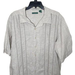 Cubavera linen Hawaiian style Shirt Men's XLT Tall Button Down Aloha bahama camp